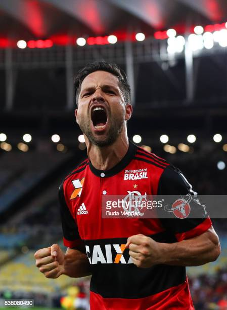 Diego of Flamengo celebrates a scored goal during a match between Flamengo and Botafogo part of Copa do Brasil SemiFinals 2017 at Maracana Stadium on...