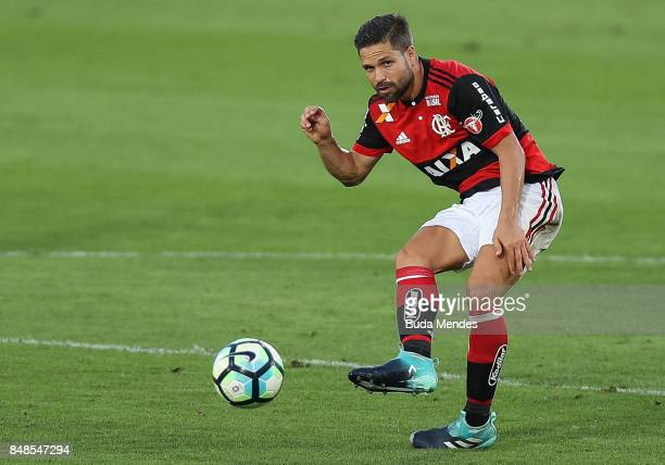Diego of Flamengo kicks the ball during a match between Flamengo and Sport Recife as part of Brasileirao Series A 2017 at Ilha do Urubu Stadium on...