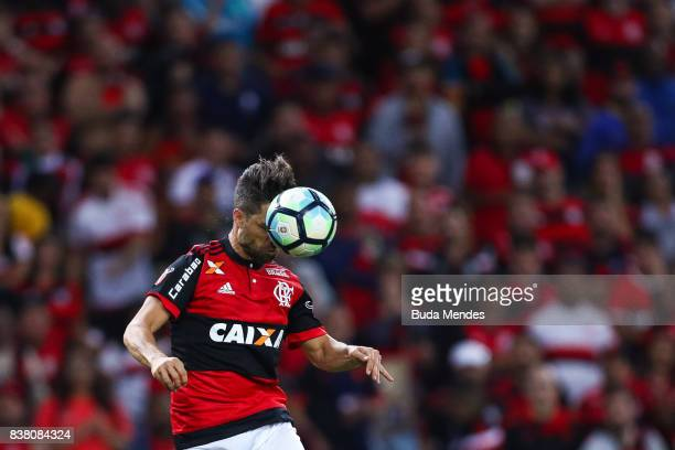 Diego of Flamengo struggles for the ball during a match between Flamengo and Botafogo part of Copa do Brasil SemiFinals 2017 at Maracana Stadium on...