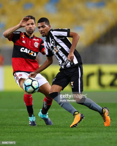 Diego of Flamengo struggles for the ball with Matheus Fernandes of Botafogo during a match between Flamengo and Botafogo part of Copa do Brasil...