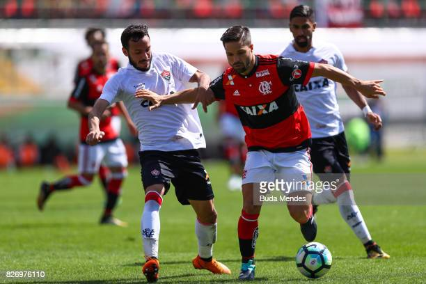 Diego of Flamengo struggles for the ball with Yago of Vitoria during a match between Flamengo and Vitoria as part of Brasileirao Series A 2017 at...