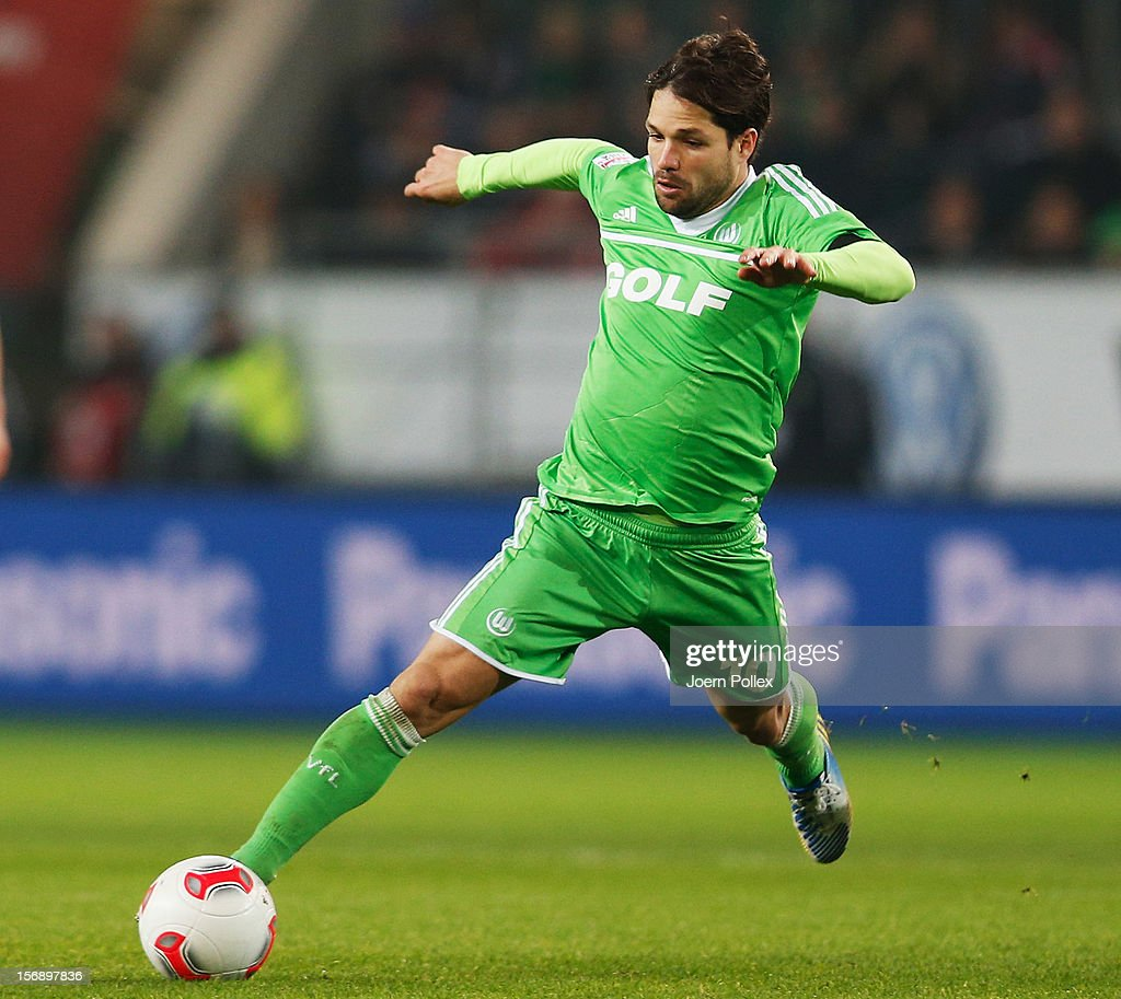 Diego of Wolfsburg controls the ball during the Bundesliga match between VfL Wolfsburg and SV Werder Bremen at Volkswagen Arena on November 24, 2012 in Wolfsburg, Germany.