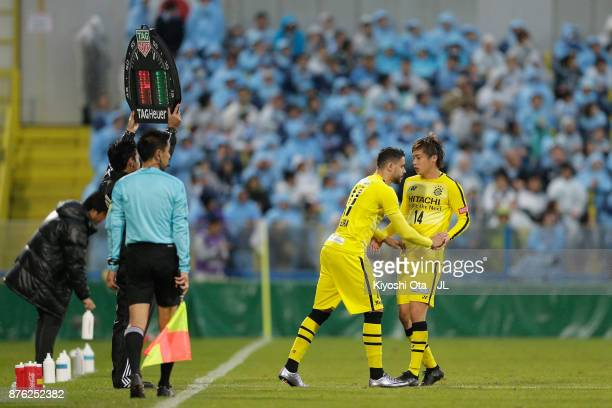 Diego Oliveira of Kashiwa Reysol is brought in for Junya Ito during the JLeague J1 match between Kashiwa Reysol and Jubilo Iwata at Hitachi Kashiwa...