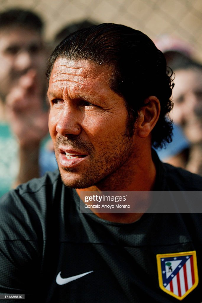 Diego Pablo Simeone, head coach of Atletico de Madrid looks on prior to start the Jesus Gil y Gil Trophy between Club Atletico de Madrid and Numancia C. D. at Sporting Club Uxama on July 21, 2013 in Burgo de Osma, Soria, Spain.