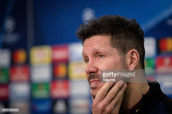 Diego Pablo Simeone head coach of Atletico looks on during a press conference prior the UEFA Champions League Round of 16 first leg match between...