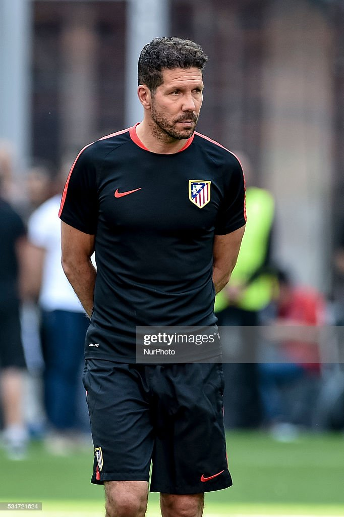 Diego Pablo Simeone of Atletico Madrid during the training session ahead the UEFA Champions League Final between Real Madrid and Atletico Madrid Atletico Madrid at Stadio San Siro, Milan, Italy on 27 May 2016