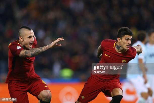 Diego Perotti and Radja Nainggolan of Roma celebrating after the penalty of 10 scored during the Italian Serie A football match AS Roma vs Lazio on...