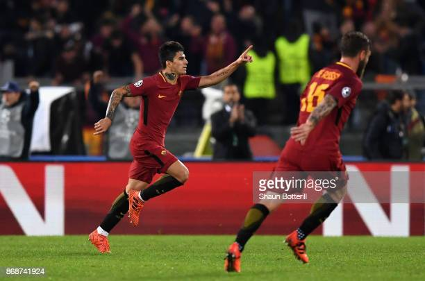 Diego Perotti of AS Roma celebrates scoring the 3rd Roma goal during the UEFA Champions League group C match between AS Roma and Chelsea FC at Stadio...