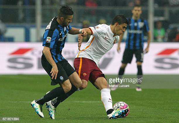 Diego Perotti of AS Roma competes for the ball with Marco D Alessandro of Atalanta BC during the Serie A match between Atalanta BC and AS Roma at...
