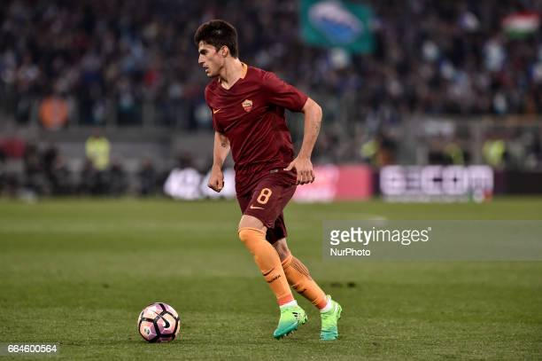 Diego Perotti of AS Roma during the Italian Cup semifinal match between Roma and Lazio at Stadio Olimpico Rome Italy on 4 April 2017