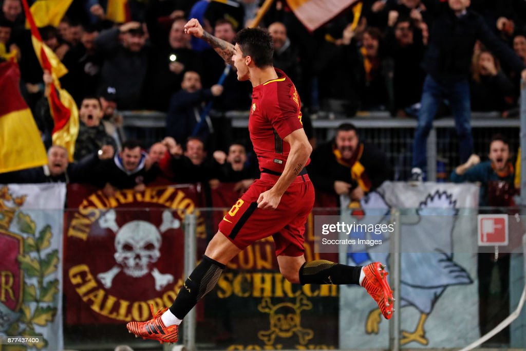 Diego Perotti of AS Roma during the Italian Serie A match between AS Roma v Lazio at the Stadio Olimpico on November 18, 2017 in Rome Italy
