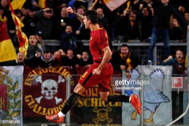 Diego Perotti of AS Roma during the Italian Serie A match between AS Roma v Lazio at the Stadio Olimpico on November 18 2017 in Rome Italy