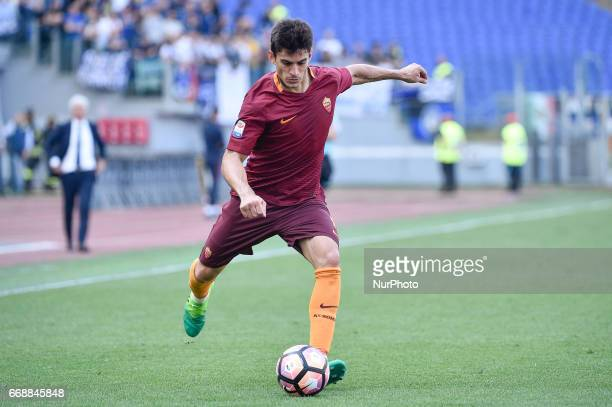 Diego Perotti of AS Roma during the italian Serie A match between Roma and Atalanta at the Olympic Stadium Rome Italy on 15 April 2017