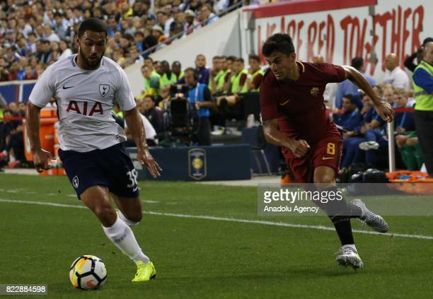Diego Perotti of AS Roma in action against CarterVickers of Tottenham during a friendly match between AS Roma and Tottenham within International...