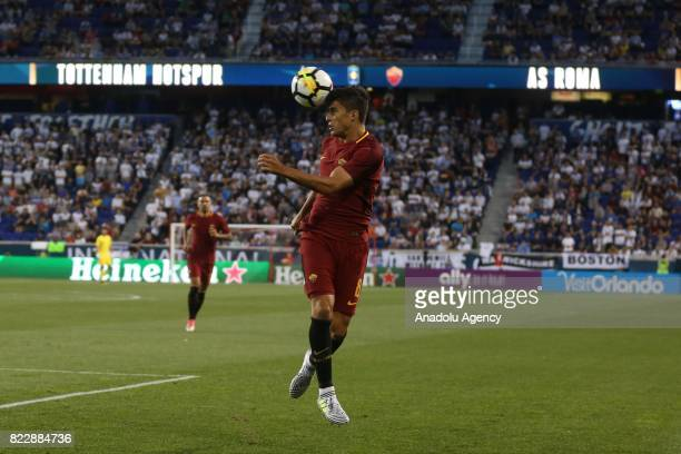 Diego Perotti of AS Roma in action during a friendly match between AS Roma and Tottenham Hotspur within International Champions Cup 2017 at Redbull...