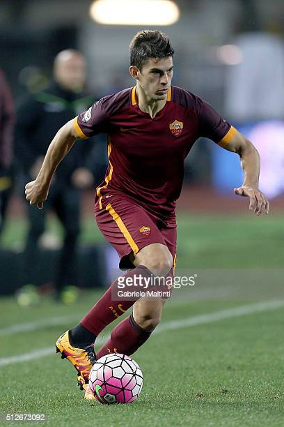 Diego Perotti of AS Roma in action during the Serie A match between Empoli FC and AS Roma at Stadio Carlo Castellani on February 27 2016 in Empoli...