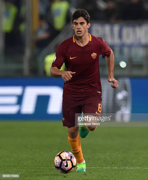 Diego Perotti of AS Roma in action during the TIM Cup match between AS Roma and SS Lazio at Stadio Olimpico on April 4 2017 in Rome Italy