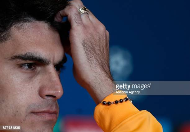 Diego Perotti of AS Roma is seen during a prematch press conference ahead of UEFA Champions League Group C match between Atletico Madrid and AS Roma...