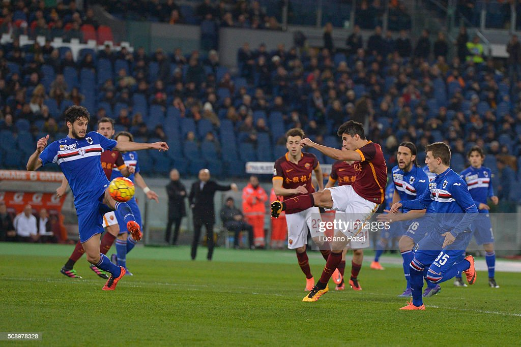 Diego Perotti of AS Roma scores the goal during the Serie A match between AS Roma and UC Sampdoria at Stadio Olimpico on February 7, 2016 in Rome, Italy.