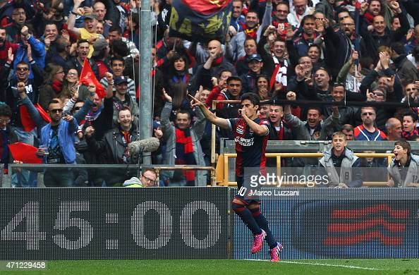 Diego Perotti of Genoa CFC celebrates his goal during the Serie A match between Genoa CFC and AC Cesena at Stadio Luigi Ferraris on April 26 2015 in...