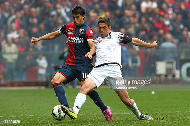 Diego Perotti of Genoa CFC competes for the ball with Costantin Nica of AC Cesena during the Serie A match between Genoa CFC and AC Cesena at Stadio...