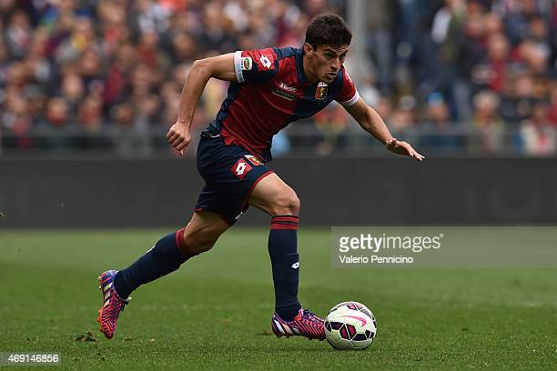 Diego Perotti of Genoa CFC in action during the Serie A match between Genoa CFC and Udinese Calcio at Stadio Luigi Ferraris on April 4 2015 in Genoa...