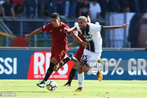 Diego Perotti of Roma and Valon Behrami of Udinese during the Italian Serie A football match between AS Roma and Udinese on September 23 2017 at the...