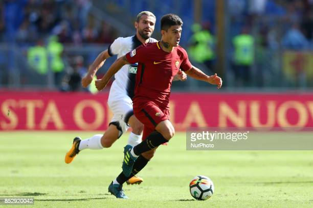 Diego Perotti of Roma and Valon Behrami of Udinese during the Italian Serie A football match AS Roma vs Udinese on September 23 2017 at the Olympic...