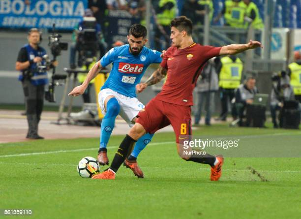 Diego Perotti Raul Albiol during the Italian Serie A football match between AS Roma and SSC Napoli at the Olympic Stadium in Rome on october 14 2017