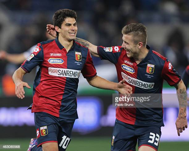 Diego Perotti with his teammate Juraj Kucka of Genoa CFC celebrates after scoring the opening goal from penalty spot during the Serie A match between...