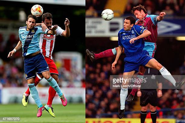 In this composite image a comparison has been made between images 452060752 and 459923090 of Father and Son Diego Poyet of West Ham and Simon Walton...