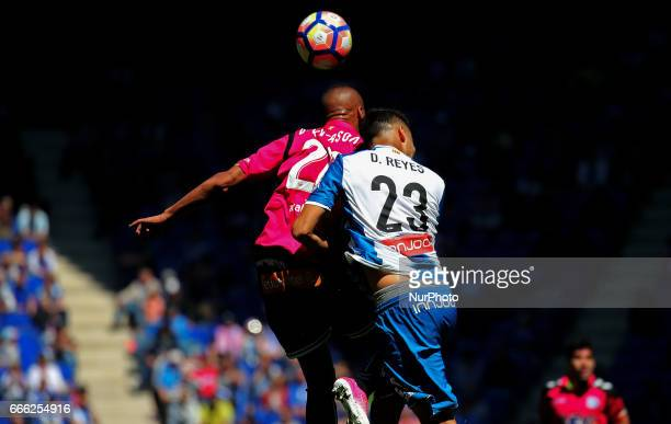 Diego Reyes and Deyverson during the match between RCD Espanyol and Deportivo Alaves on April 08 2017