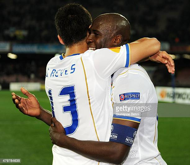 Diego Reyes and Eliaquim Mangala of FC Porto celebrate victory after the UEFA Europa League Round of 16 match between SSC Napoli and FC Porto at...
