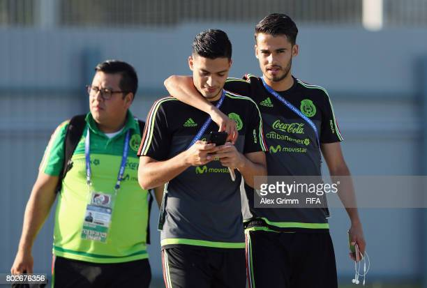 Diego Reyes and Raul Jimenez arrive for a Mexico training session at Adler training ground ahead of their FIFA Confederations Cup Russia 2018...