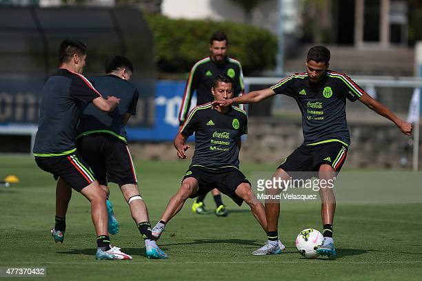 Diego Reyes drives the ball during a Mexico National Team training session prior the beginning of Gold Cup 2015 at CAR on June 16 2015 in Mexico City...