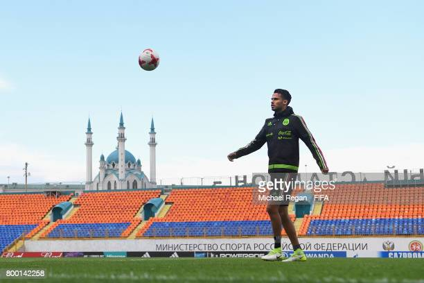 Diego Reyes looks on during the Mexico training session on June 23 2017 in Kazan Russia