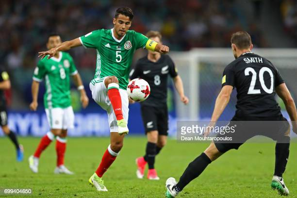 Diego Reyes of Mexico controls the ball during the FIFA Confederations Cup Russia 2017 Group A match between Mexico and New Zealand at Fisht Olympic...