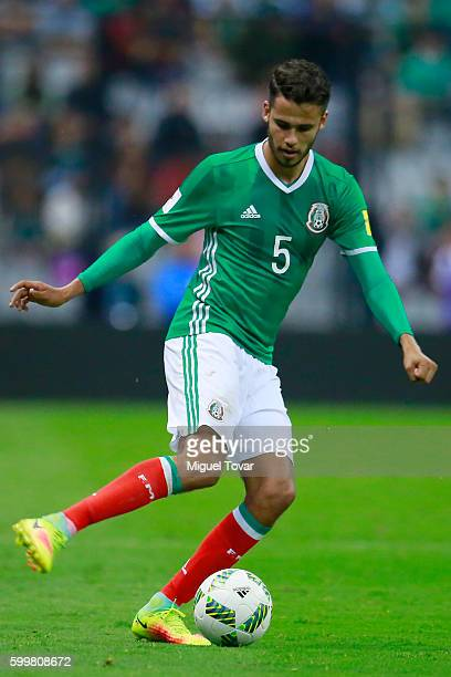 Diego Reyes of Mexico drives the ball during a match between Mexico and Honduras as part of FIFA 2018 World Cup Qualifiers at Azteca Stadium on...