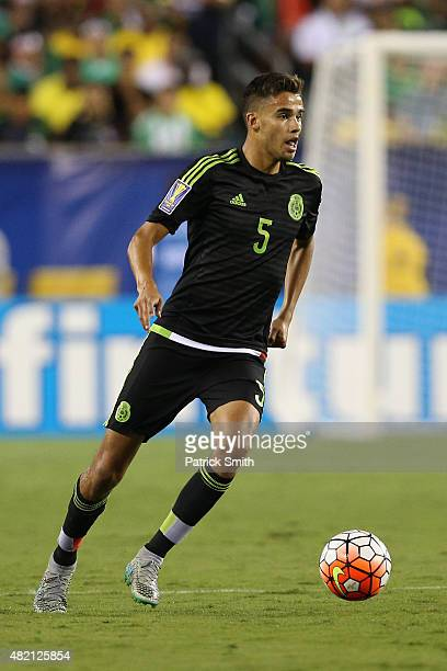 Diego Reyes of Mexico in action against Jamaica during the CONCACAF Gold Cup Final at Lincoln Financial Field on July 26 2015 in Philadelphia...