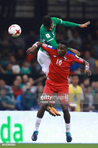 Diego Reyes of Mexico jumps for the ball over Luis Tejada of Panama during the match between Mexico and Panama as part of the FIFA 2018 World Cup...