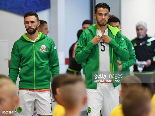 Diego Reyes of Mexico prepares in the tunnel prior to the FIFA Confederations Cup Russia 2017 Group A match between Mexico and Russia at Kazan Arena...