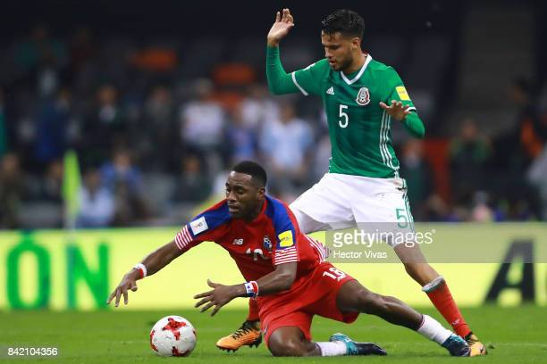 Diego Reyes of Mexico struggles for the ball with Luis Tejada of Panama during the match between Mexico and Panama as part of the FIFA 2018 World Cup...