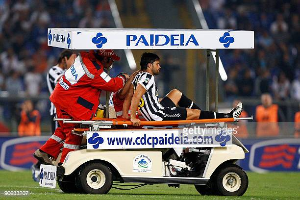 Diego Ribas da Cunha leaves the pitch with an injury during the Serie A match between Lazio and Juventus at Stadio Olimpico on September 12 2009 in...