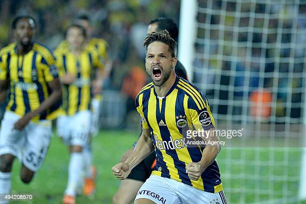 Diego Ribas Da Cunha of Fenerbahce celebrates after scoring during the Turkish Spor Toto Super League football match between Fenerbahce and...