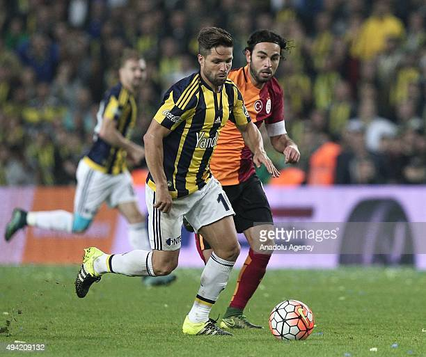 Diego Ribas of Fenerbahce in action against Selcuk Inan of Galatasaray during the Turkish Spor Toto Super League football match between Fenerbahce...