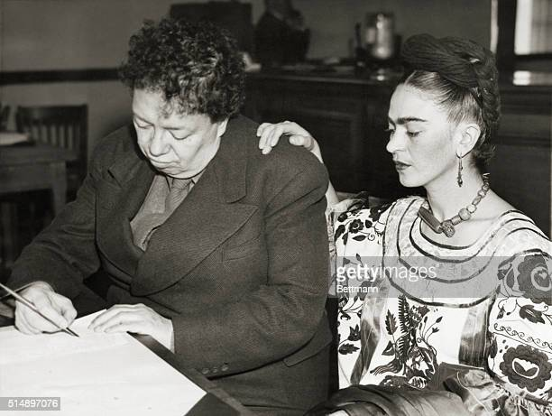 Diego Rivera noted Mexican muralist and his former third wife Frida Kahlo Rivera shown today as they applied for a marriage license in San Francisco...