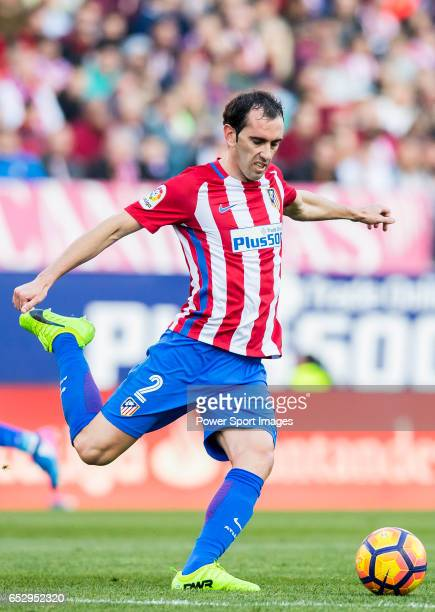 Diego Roberto Godin Leal of Atletico de Madrid in action during their La Liga match between Atletico de Madrid and FC Barcelona at the Santiago...