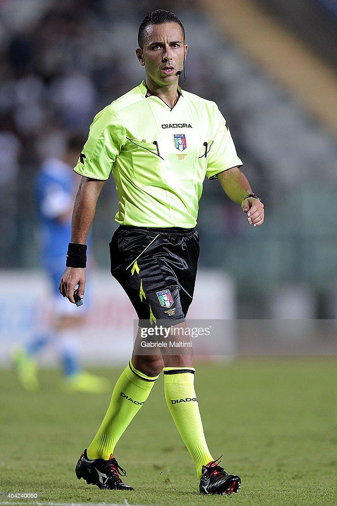 Diego Roca of Foggia referee during the TIM Cup match between Empoli FC and L'Aquila Calcio at Stadio Carlo Castellani on August 24, 2014 in Empoli, Italy.