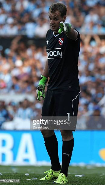Diego Rodriguez of Independiente gestures during a second leg match between Independiente and Racing Club as part of Pre Copa Libertadores Playoff at...