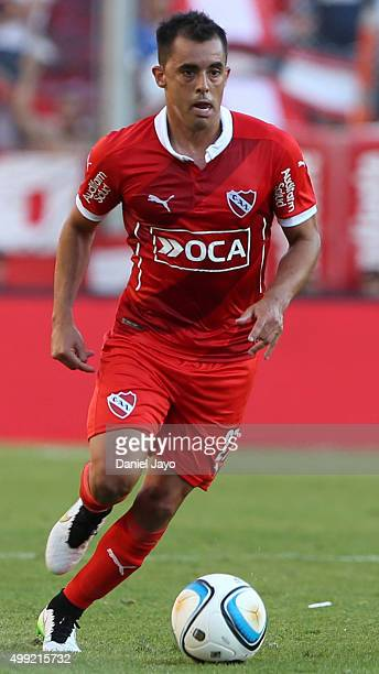 Diego Rodriguez of Independiente plays the ball during a first leg match between Independiente and Racing Club as part of Pre Copa Libertadores...